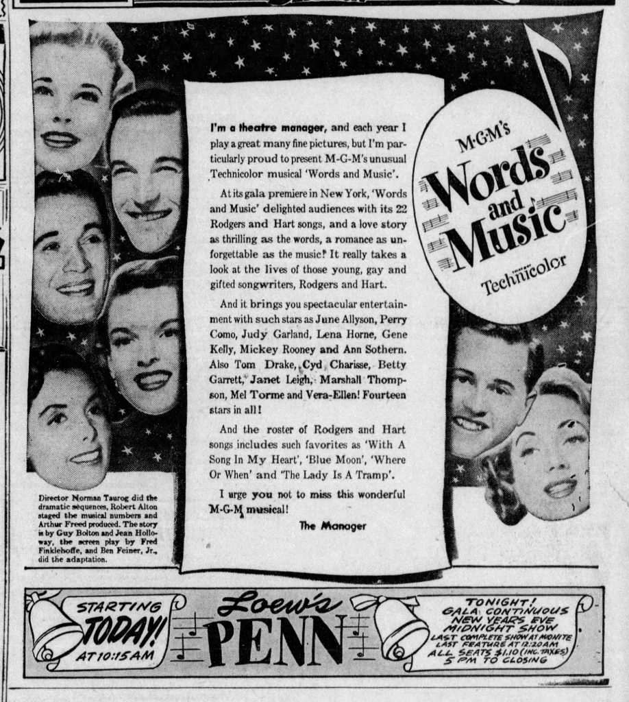 The Loew's Penn advertisement announcing the continuous New Year's Eve showings of Words and Music, The Pittsburgh Sun-Telegraph, December 31, 1948. The film featured the work of three famous Western Pennsylvanians.
