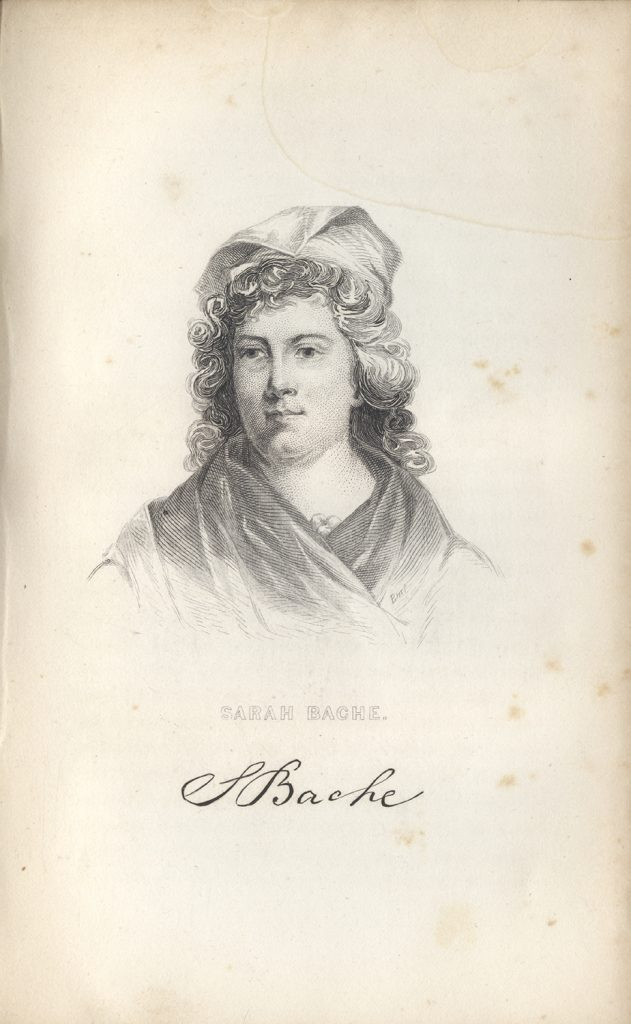Engraving of Sarah Franklin Bache, from Elizabeth Ellet's book, Women of the American Revolution, 1854. Bache, the daughter of Benjamin Franklin, often acted as his hostess for political events and served as a leader in Philadelphia relief efforts during the war. From the Detre Library & Archives at the Heinz History Center.