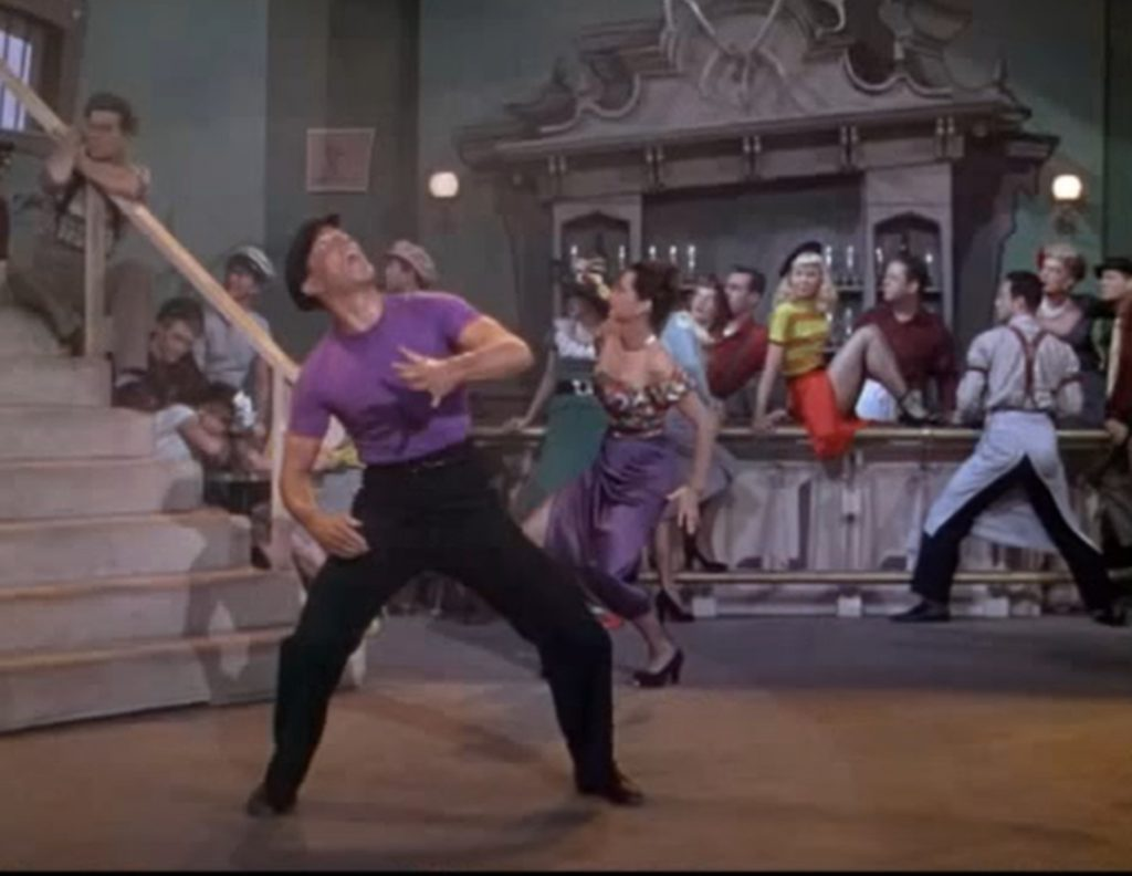 """Gene Kelly dancing in the ballet """"Slaughter on Tenth Avenue"""" from Words and Music, 1948. Screen capture from MGM trailer."""