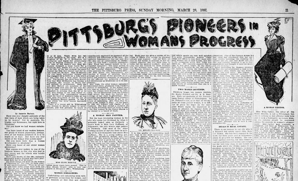 """Pittsburg's Pioneers in Womans Progress,"" The Pittsburg Press, March 28, 1897. This full-page spread outlined nearly 30 local women involved in professional pursuits in the city. Credit: The Pittsburgh Press, March 28, 1897."