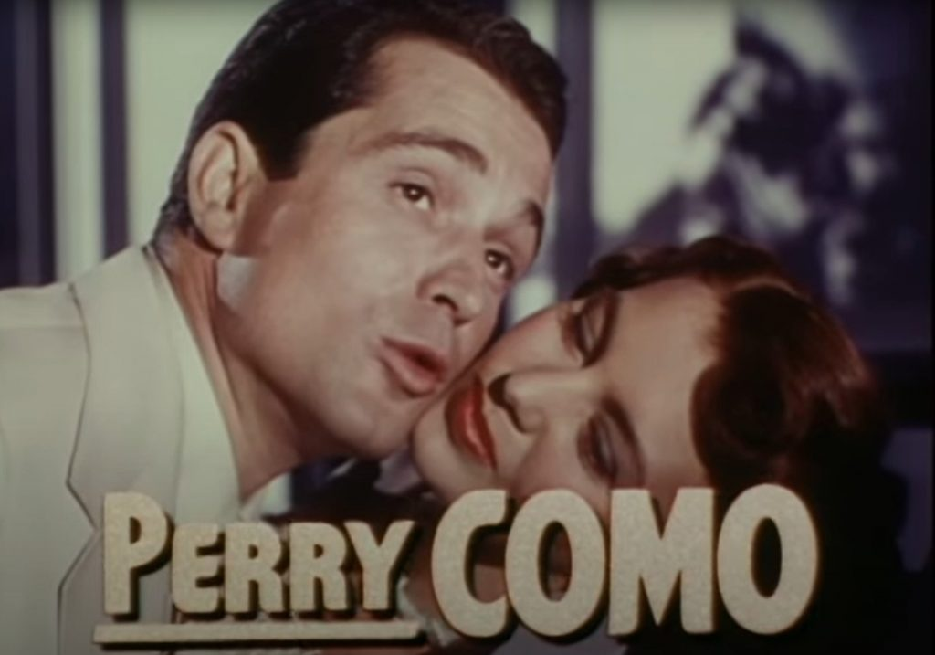 Perry Como appearing in the trailer for Words and Music, 1948. Screen capture from MGM trailer.