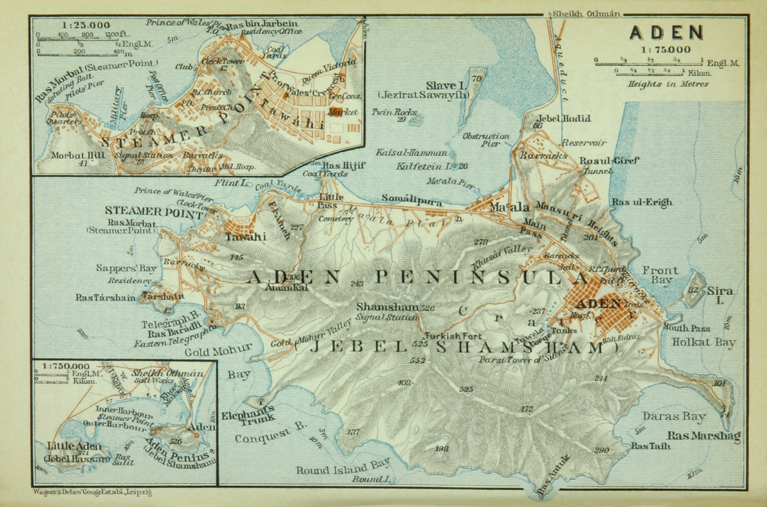 Map of Aden, 1914. The British port town where Nellie Bly came ashore is labeled as Steamer Point on the northwestern side of the peninsula, while the town of Aden proper is located on the western side. Courtesy of Wikimedia Commons.