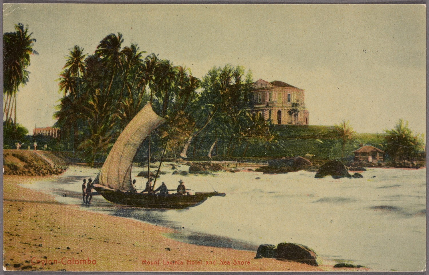 Mount Lavinia Hotel, several miles south of the port of Colombo, c. 1910. Nellie Bly came ashore in a boat like the one in the foreground. Courtesy of the New York Public Library.