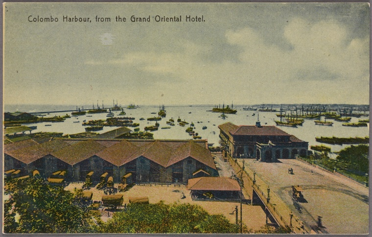 View of Colombo Harbor from the Grand Oriental Hotel, c. 1910. Courtesy of the New York Public Library.
