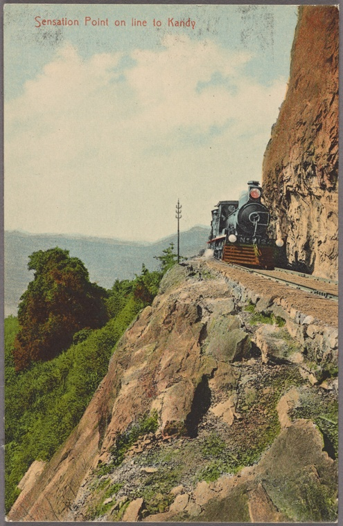 Cliffside tracks on the rail line that Nellie Bly took from Colombo to Kandy. Courtesy of the New York Public Library.