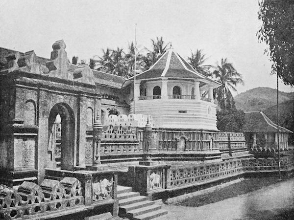 Sri Dalada Maligawa, or the Temple of the Tooth, c. 1905. This temple was constructed to house a holy relic, the tooth of the Buddha. Courtesy of Wikimedia Commons.