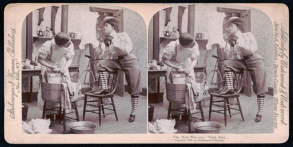 """The New Woman – Wash Day,"" stereoview card, Strohmeyer & Wyman, 1897. The widely-used figure of the ""New Woman"" illustrated public fears about changing gender roles in the late 1800s. It its feature on women pioneers in 1897, The Pittsburg Press emphasized that there was ""nothing New Womanish"" about them. Library of Congress, Prints and Photographs Division."