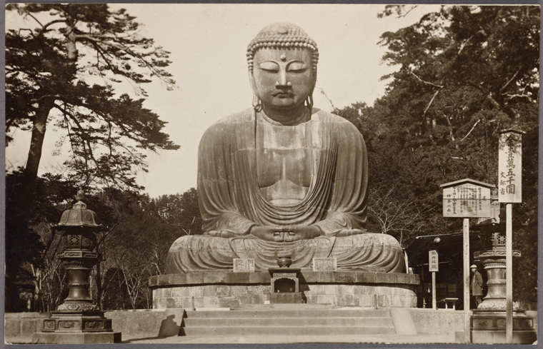 The Kamakura Buddha, or Kamakura Daibutsu, 1932. The statue, located on the grounds of a Buddhist temple called Kōtoku-in, is hollow and visitors can view its interior. Courtesy of the New York Public Library.