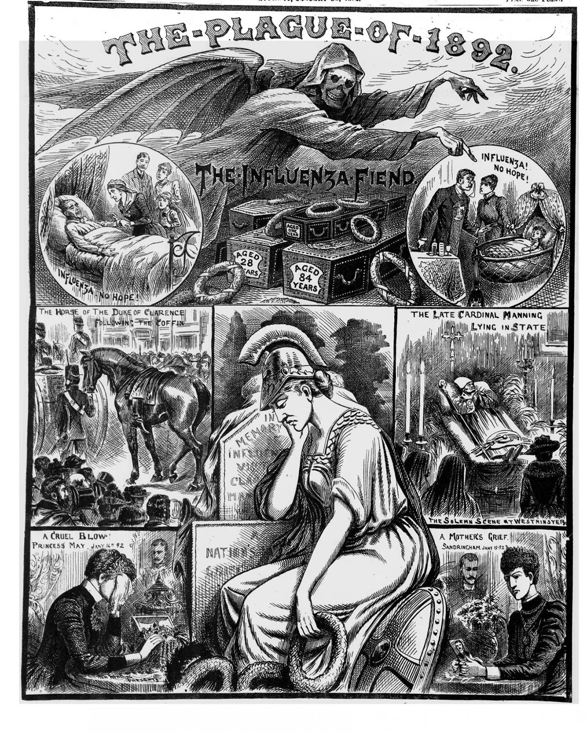 Illustration from Illustrated Police News depicting victims of the pandemic, 1892. Courtesy of the Wikimedia Commons.