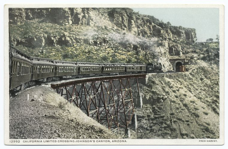 Train crossing Johnson Canyon, 50 miles west of Flagstaff, Arizona, c. 1908. Courtesy of the New York Public Library.