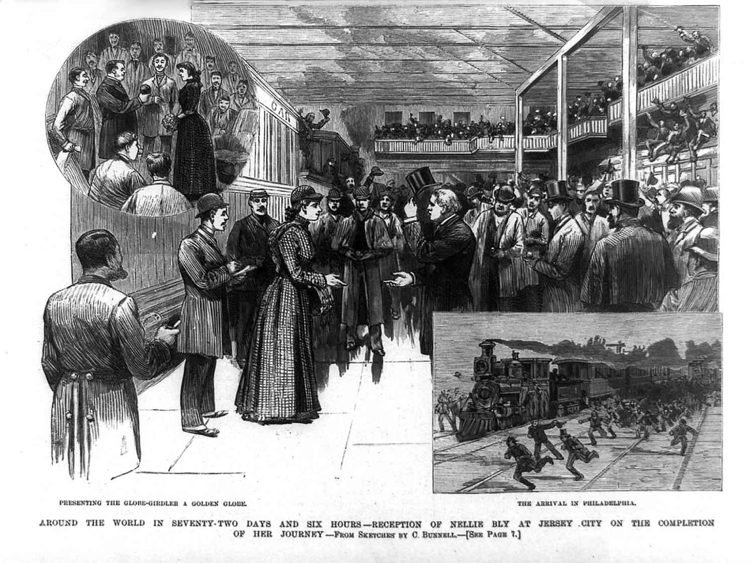 Woodcut of Nellie Bly's reception at Jersey City, 1890. Courtesy of Wikimedia Commons.