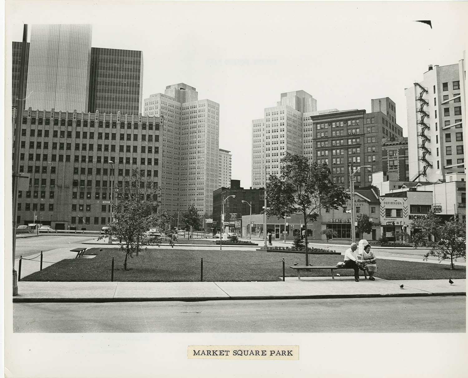 Detail showing one of the quadrants of the new Market Square Park, July 1964.