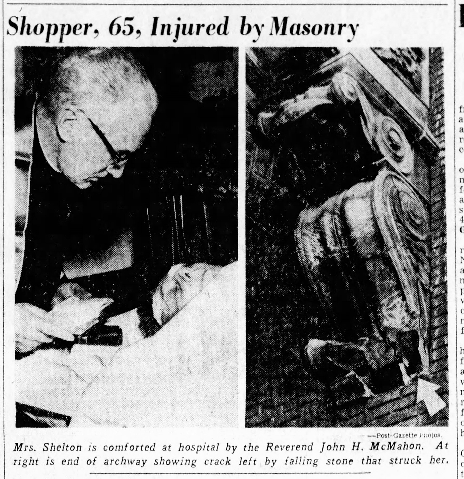 Newspaper coverage of shopper injured by a decorative fragment that fell off Diamond Market, 1959.