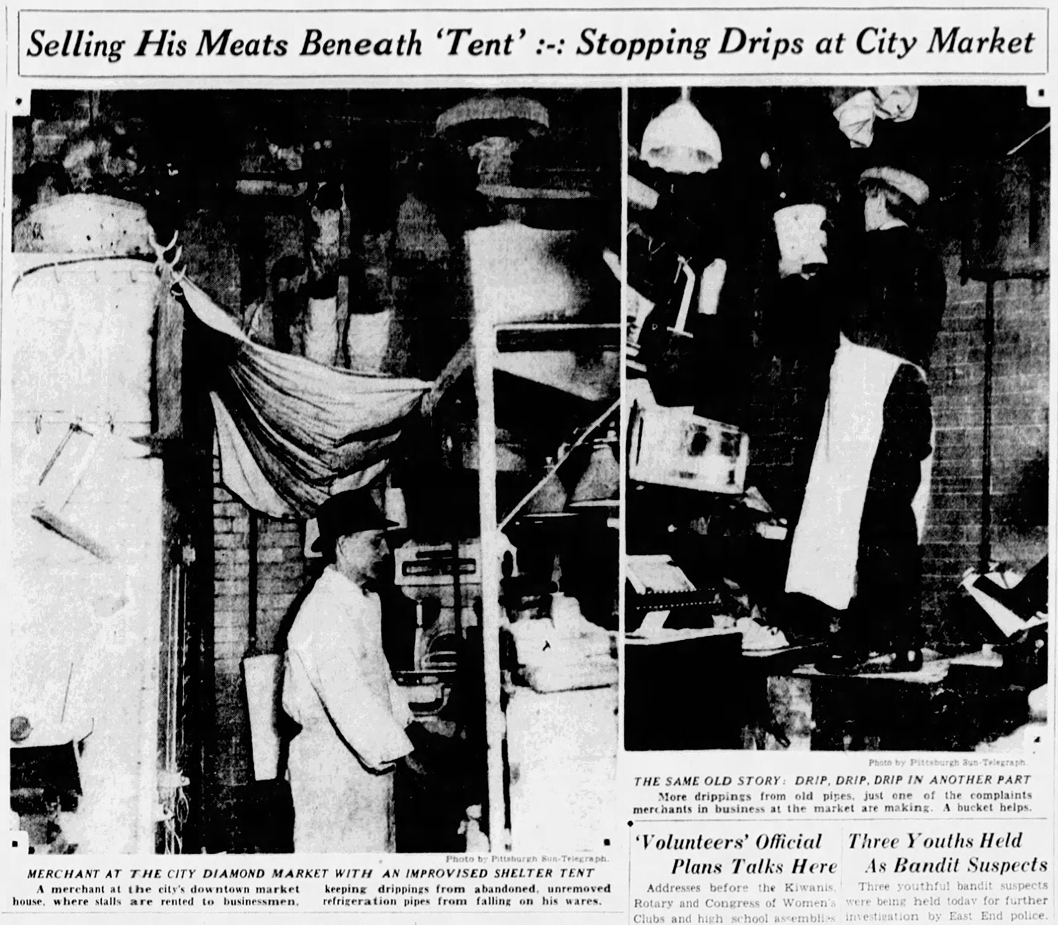 Press photos portrayed the poor condition under which vendors operated in Diamond Market, 1931.