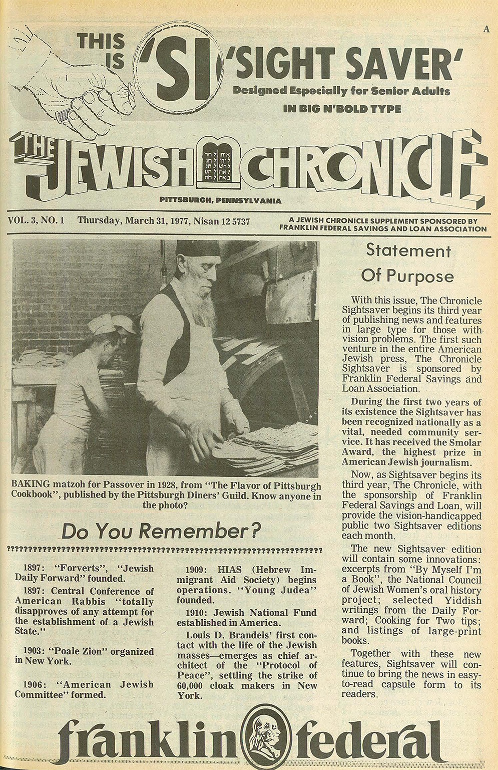 The photograph of Jacob Radbord inspecting matzah is among the best-known in the Rauh Jewish Archive. The local Jewish Chronicle has reprinted it at least twice.