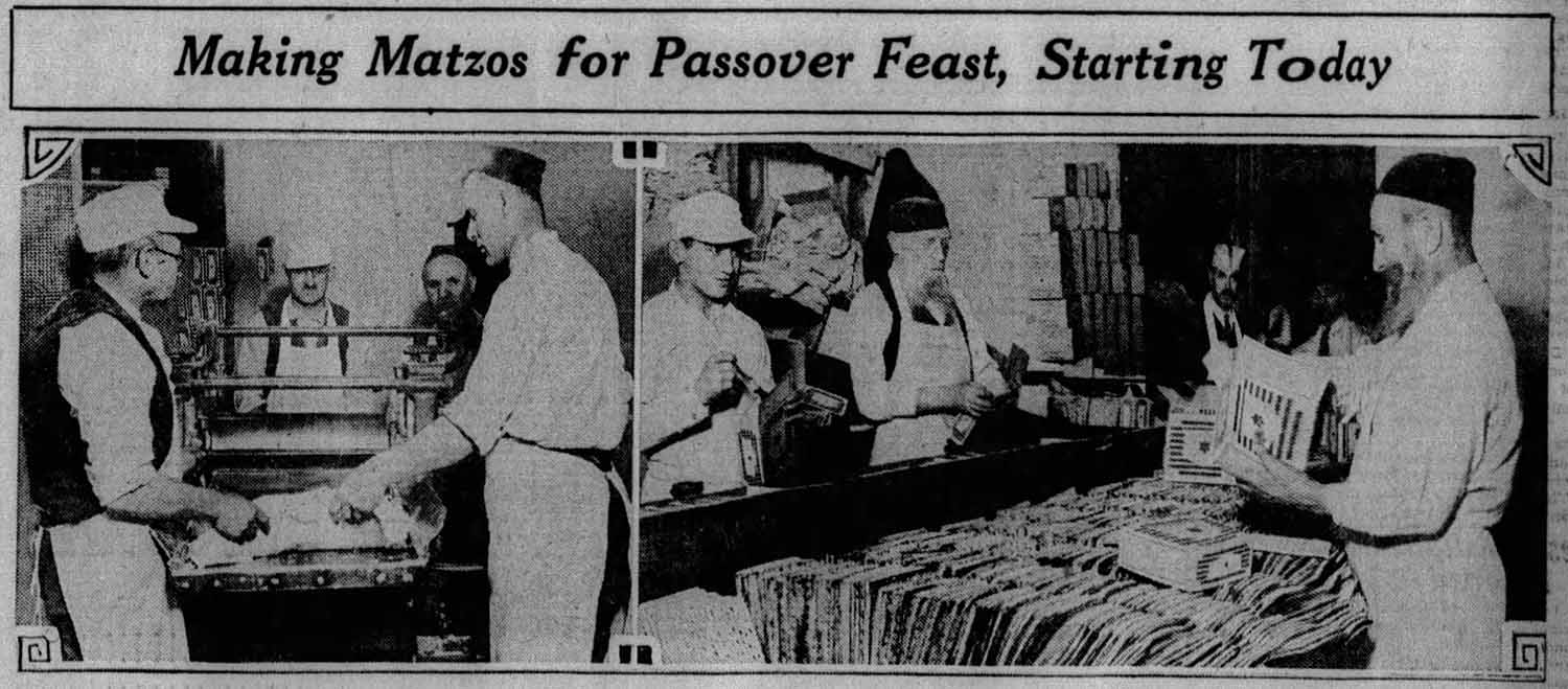 A photograph from the April 24, 1929 edition of the Pittsburgh Sun-Telegraph, showing Radbord and a team of baker packing matzah for Passover deliveries throughout Western Pennsylvania.