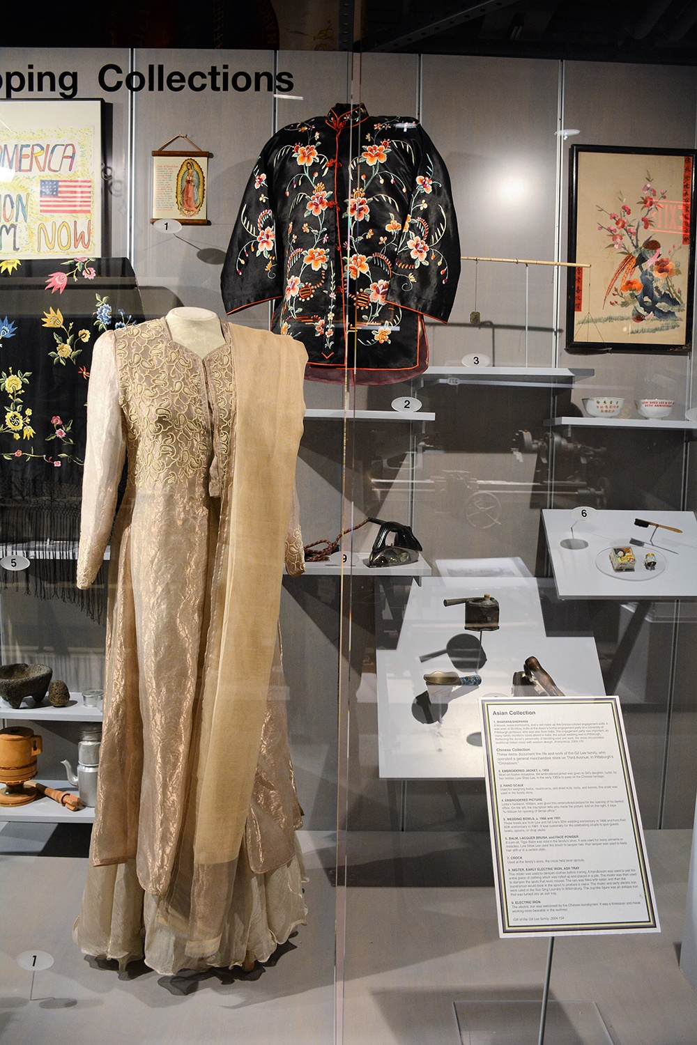 Formal engagement ceremony outfit (left foreground) worn by an Indian woman, undated.