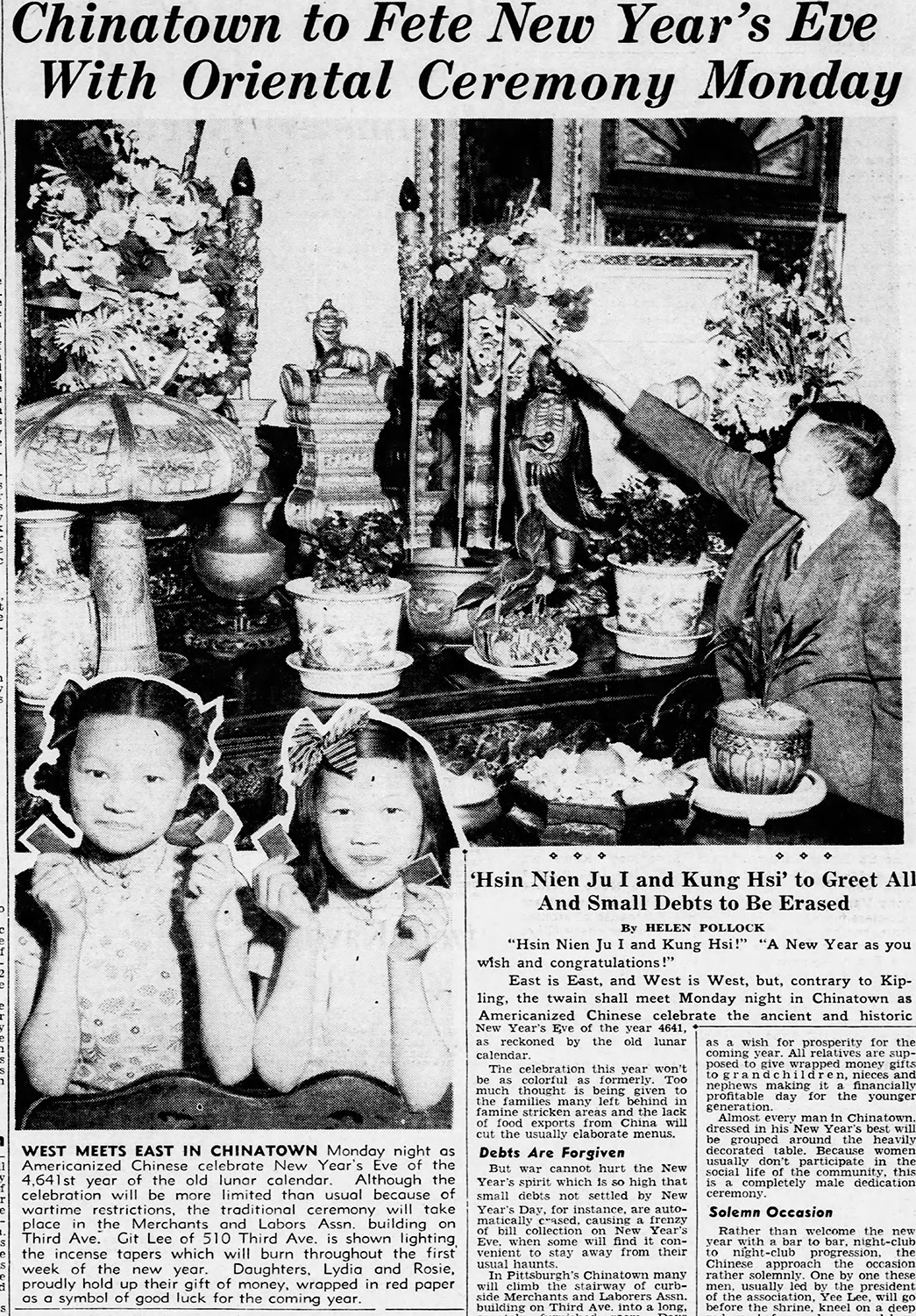 Git Lee (right) and daughters Lydia and Rosie featured in an article about Chinese Lunar New Year, 1944. The Pittsburgh Press, Jan. 22, 1944.