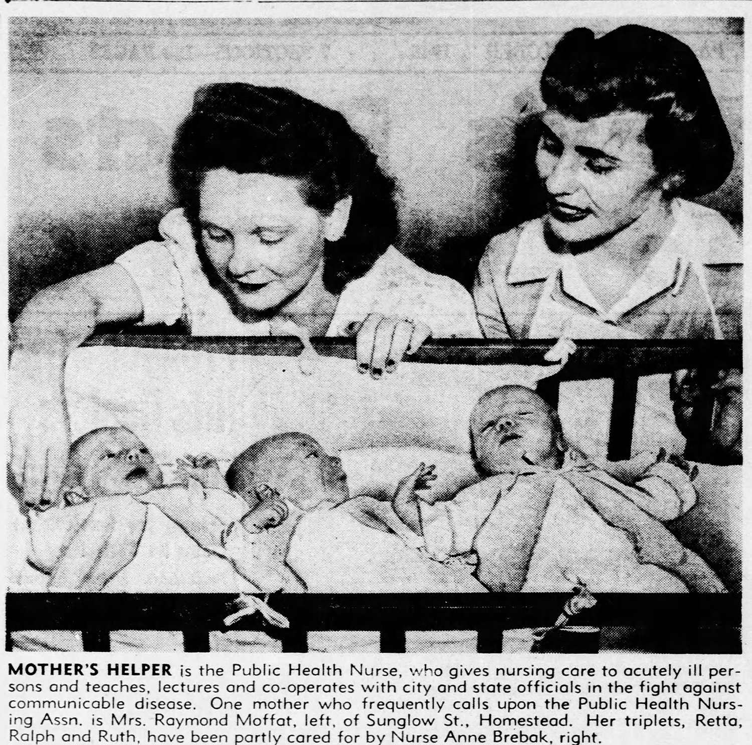 """""""Mother's Helper,"""" press clipping, 1945. This clip featured a Public Health Nurse serving a new mother with triplets in Homestead. Pittsburgh Press, Oct. 7, 1945."""