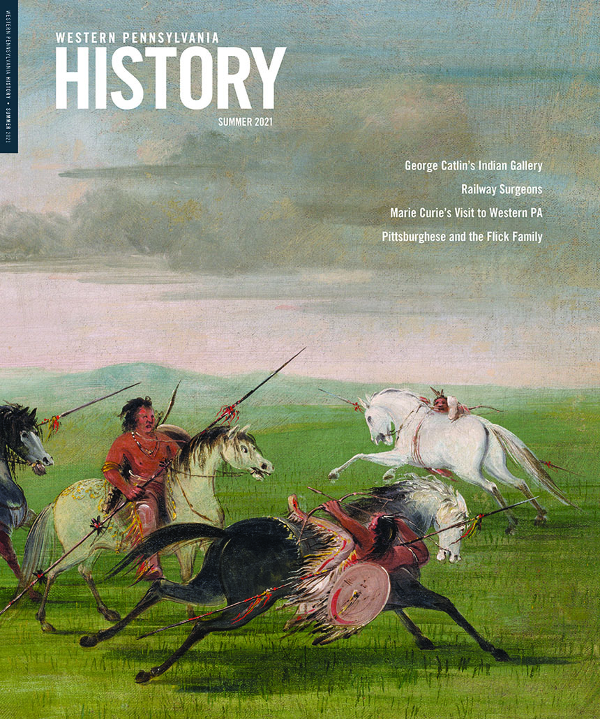 Cover of Spring 2021 issue of Western Pennsylvania History, painting of people on horseback with spears